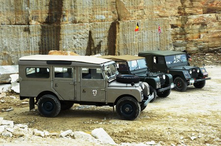 restored: Valpellice, Italy - jun 15-16 2013, Experience Land Rover Series One in stone quarry