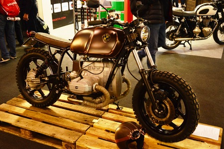 restored: Verona, Italy - Jan 20 2017: motorcycle expo, motorbike BMW cafè racer Editorial