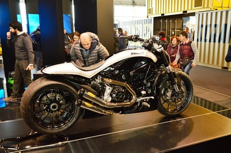 Verona, Italy - jan 20 2017: motor bike expo, motorbike Ducati Editorial