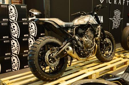 Verona, Italy - Jan 20 2017: motorcycle expo, motorbike Yamaha cafè racer Editorial