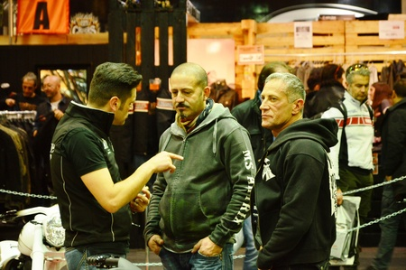 Verona, Italy - jan 20 2017: motor bike expo, people talking