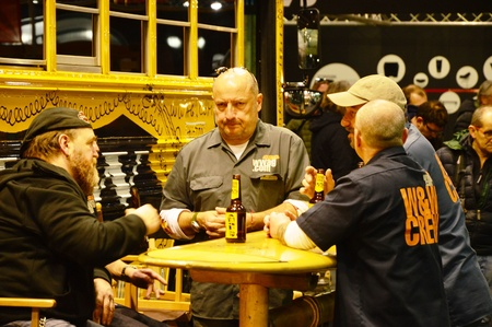 Verona, Italy - jan 20 2017: motor bike expo, people talking and drinking