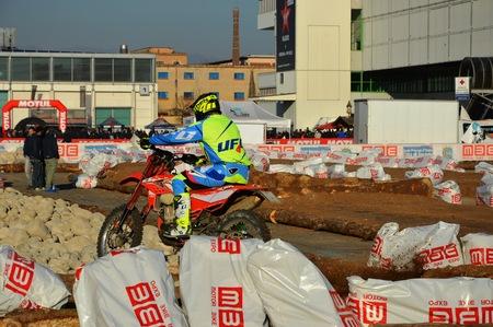 Verona, Italy - jan 20 2017: motor bike expo, stunt man show cross Editorial