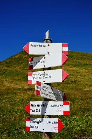 Mountain trekking dolomites indications Stock Photo