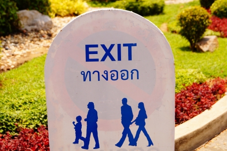 king palace: Exit sign for traveler in King palace in Thailand