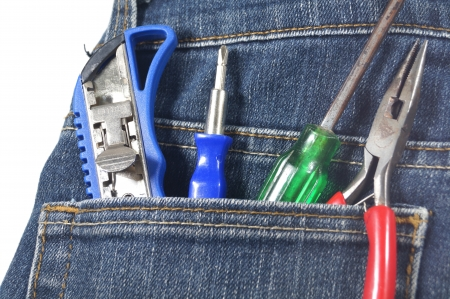 tool and equipment in jean s pocket                              photo