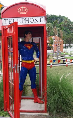 antique booth: super man in telephone box     Editorial