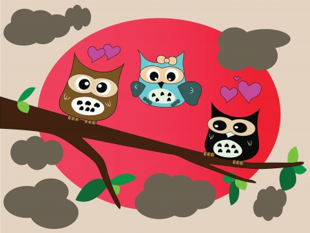 clound: owl in love in full moon