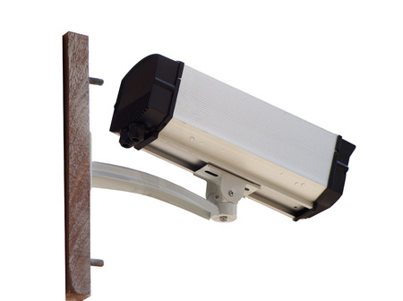 surveillance camera on white background photo