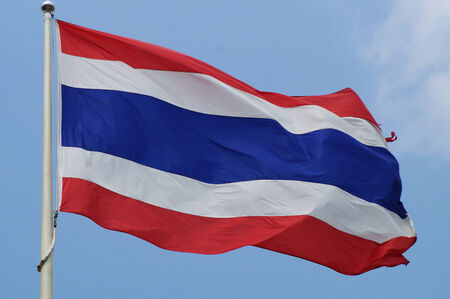 thailander: Thai flag on blue sky