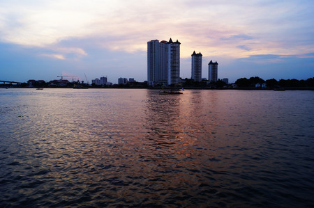 Bangkok city and  river in twilight, Thailand photo