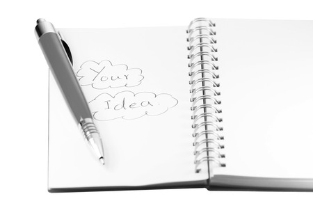 pen and notebook and your idea on white background photo
