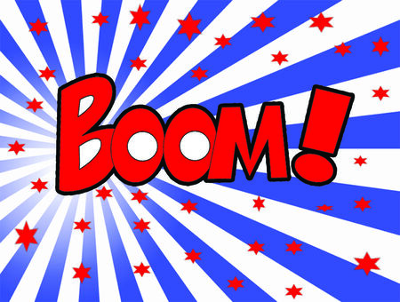 crunches: Boom word and abstrack background