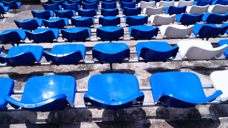 blue chair in stadium photo