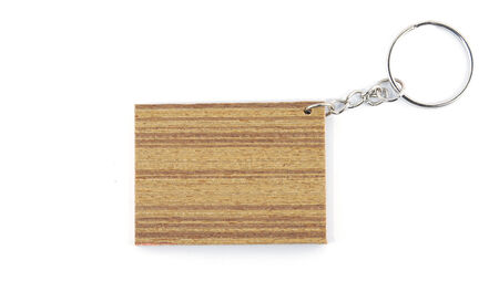 keychain: keychain in wooden square  shape isolated on white background