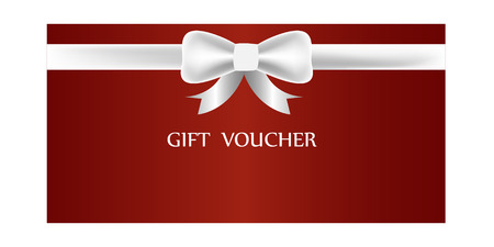 ruban blanc: gift voucher, certificate and gift card with white ribbon and bow Illustration