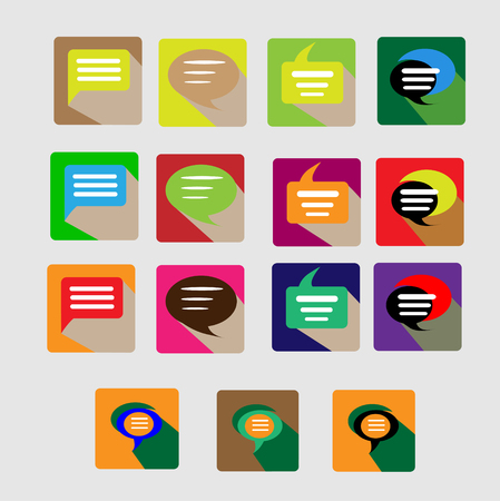 argumentation: Modern flat conversation icons vector collection with long shadow effect in stylish colors of web design objects, business, office and marketing items.