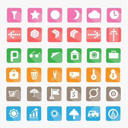 ilustration and painting: Modern flat icons vector collection with long shadow effect in stylish colors of web design objects, business, office and marketing items. Illustration