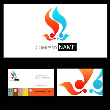 blue hair: logo of red fire and blue hair  for  business card Illustration