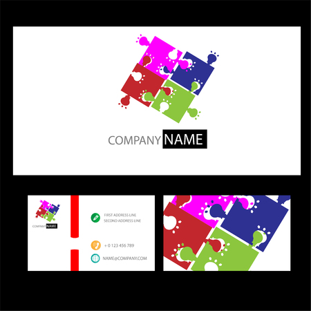 puzzle business: Jigsaw Puzzle Pieces Background Vector and business card Illustration