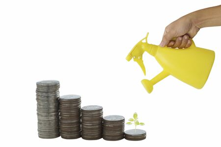 hand holding yellow watering can with pile of money coins and small tree isolated on white background,concept in safe, account and finance of business