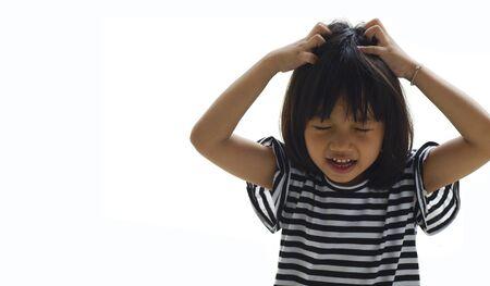 frustrated young girl isolated and copy space