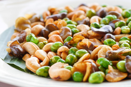 Close up Broad bean fried on plate  for appetizer food Stock Photo