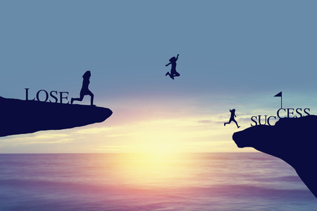 celebrat: Silhouette of people jumping from lose side on rock to success and celebrat in business, fiance and life