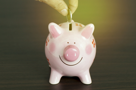 earn money: hand put money on piggy bank on wood table  background