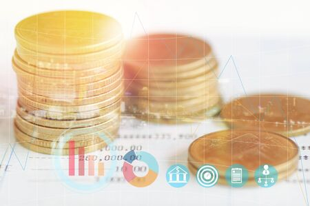 subtraction: double exposure staked of coins on account book finance and banking and city- concept in grow and walk step by step for success in business