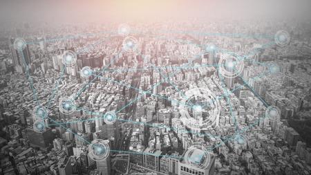接続ラインの概念、概念の技術、ビジネスのためのインターネットのグローバル化と都市 写真素材