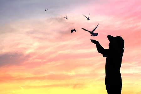 silhouette people release birds to be freedom and free Reklamní fotografie