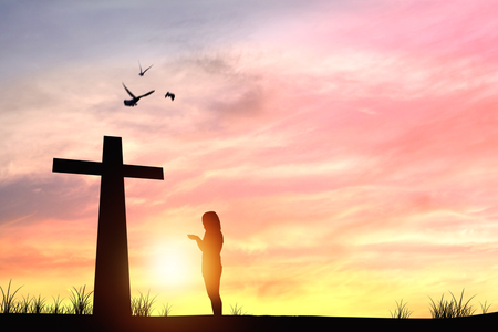 silhouette people prayer and cross sign and sunset, concept as hope and faith to success