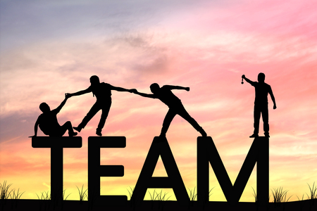 silhouette team work of men helping and lifting man, concept as improving and development business