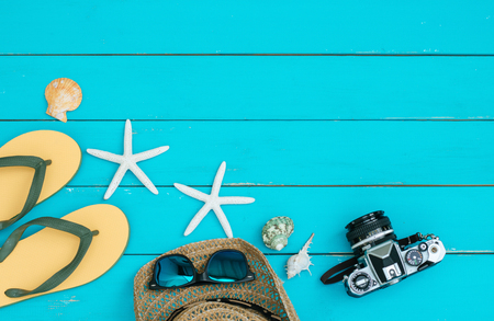 Accessory summer on vintage wood background