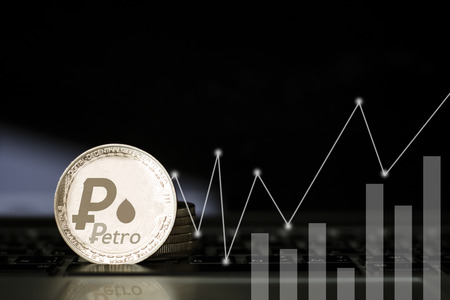 Petro coin on wall with finance growth graph, banking, capital and economy concept