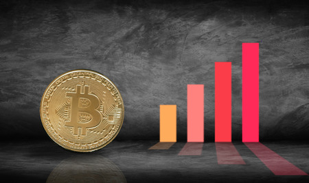 golden bitcoin with growing graph, concept as finance, trade and economy Фото со стока