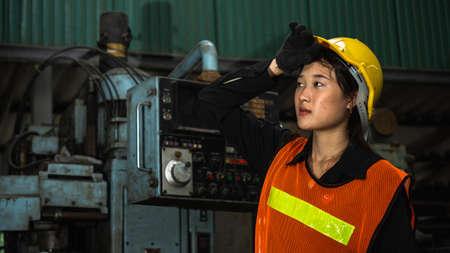 portrait of Asian woman worker in factory Archivio Fotografico