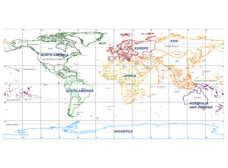 Detailed World Map with Names of Continent and Countries, vector isolated by group