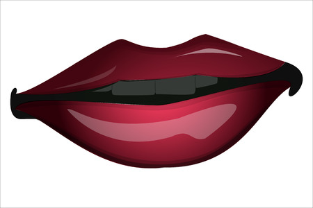 sensual female lips with healthy white teeth  Cosmetology, dentistry and beauty care   Vector