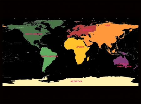 Detailed World Map with Names of Continent and Countries, vector isolated by group Vector