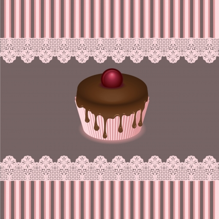 layout strawberry: cake cards, vector Illustration
