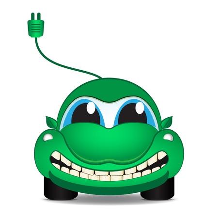 Carácter - coche ecológico eléctrico, vector