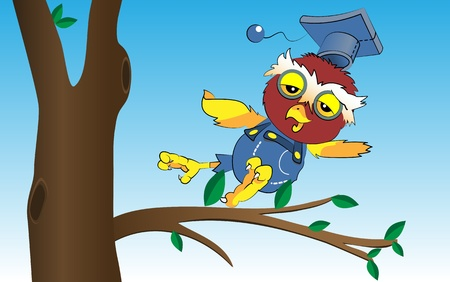 Illustration of cartoon owl, vector Vector