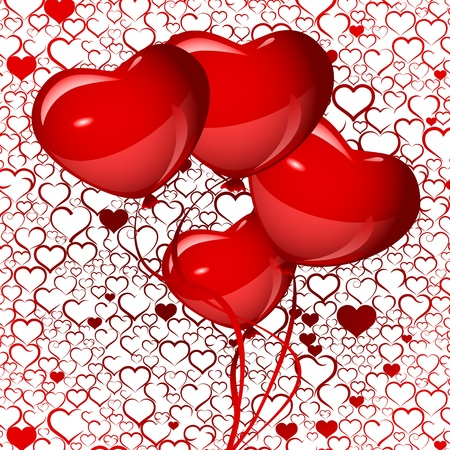 bright red heart balloons background, vector Vector