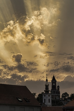 Sun illumination over the Hill Gardos - Roman Tower and St  Nicholas Church  in Zemun, Belgrade, Serbia  photo