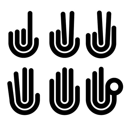 numbering: hand gestures counting symbols from 1 to 5, vector