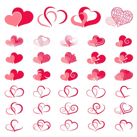 Set of symbols double heart, vector Ilustracja