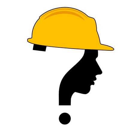 under construction sign with man: under construction with question mark human head symbol, vector