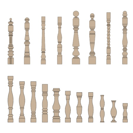 banister: set of architectural element  balustrade Illustration